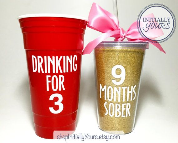 9 Months Sober, Pregnancy Announcement, We're Pregnant, Pregnancy Gift, Funny Pregnancy Announcement, Drinking for 3, Pregnant Gift