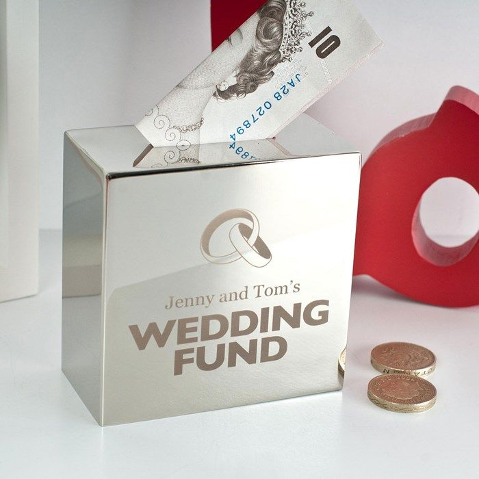 Personalised Silver Money Box - Wedding Fund | GettingPersonal.co.uk
