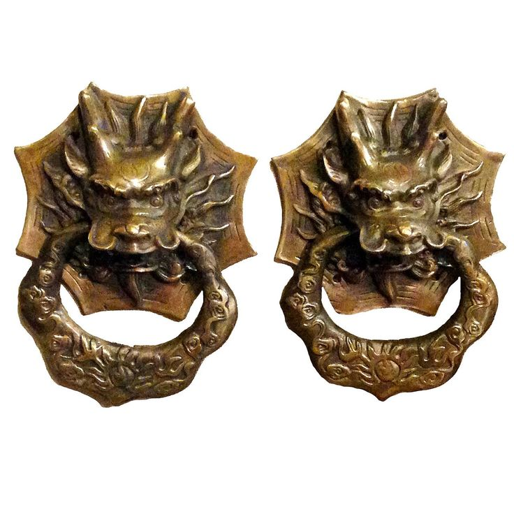 Pair of Brass Dragon Chinese Door Knockers or Towel Rings | From a unique collection of antique and modern metalwork at https://www.1stdibs.com/furniture/asian-art-furniture/metalwork/