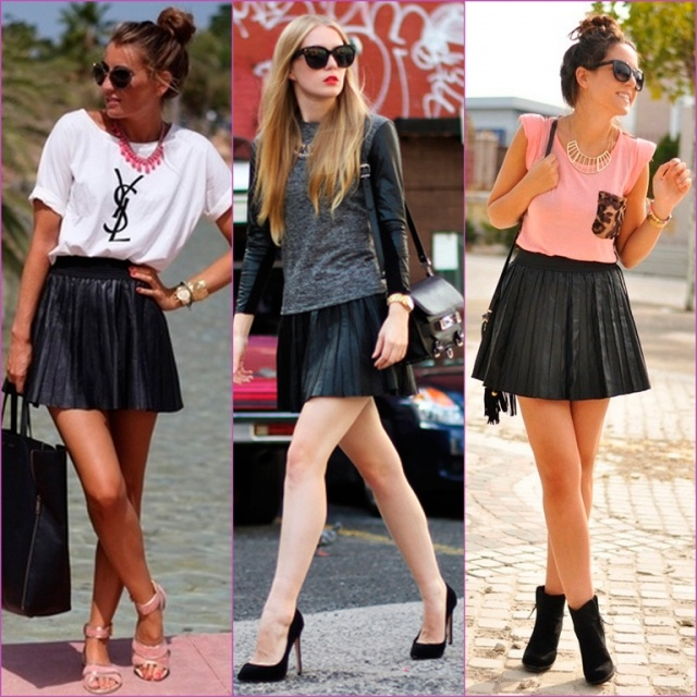 Leather pleated skirt graphic purse tee