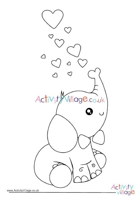 valentine's day elephant colouring page in 2020 (with