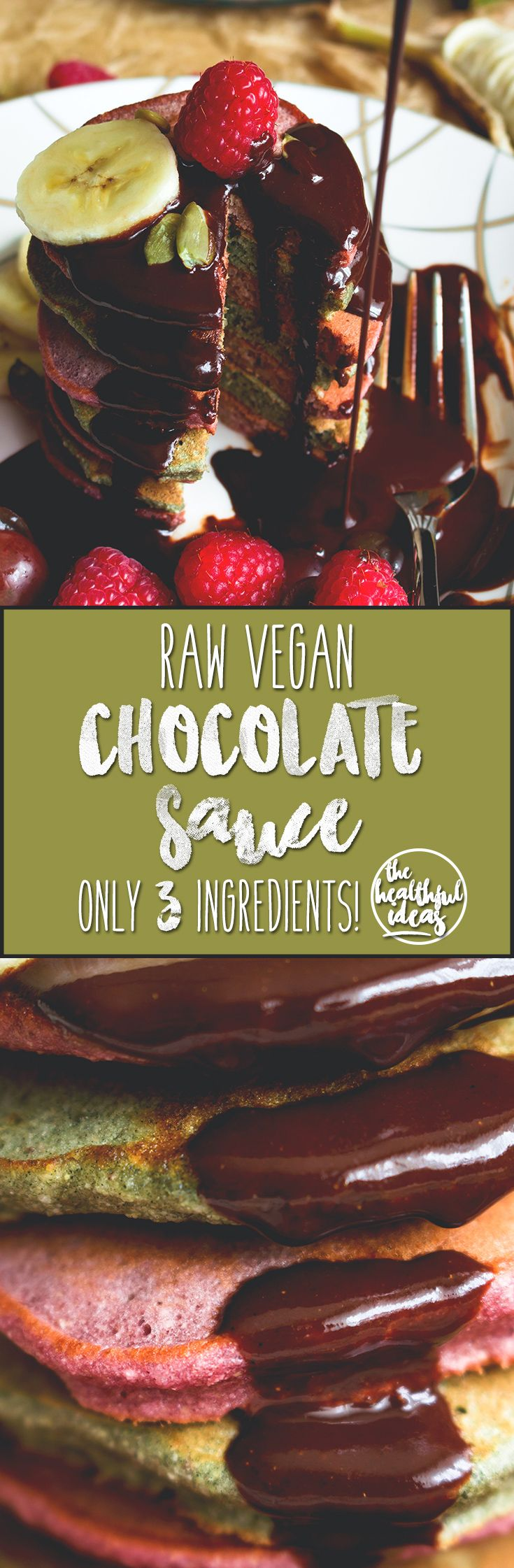 Raw Chocolate Sauce - delicious vegan alternative to unhealthy chocolate sauce. I LOVE this recipe! It's sweet and chocolatey and actually good for you. It's easy to make too! 3 INGREDIENTS ONLY! | thehealthfulideas.com