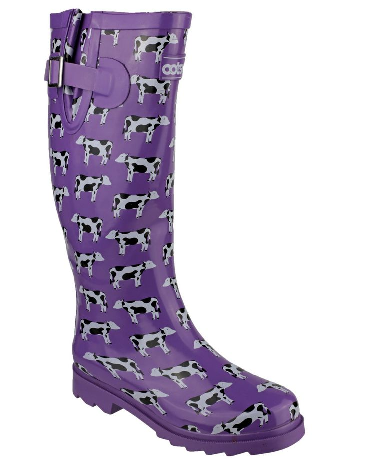 Cotswold girls Cotswold Girls Freesian Cow Pattern Welly Wellington Boot Pink Purple Rubber UK Size 5 (EU 22). Synthetic. Freesian Patternd Wellies in Purple. Rubber Wellington Purple with Black and White Cows. Purple Contrasting Textile Lining . Adjustable Gussett.