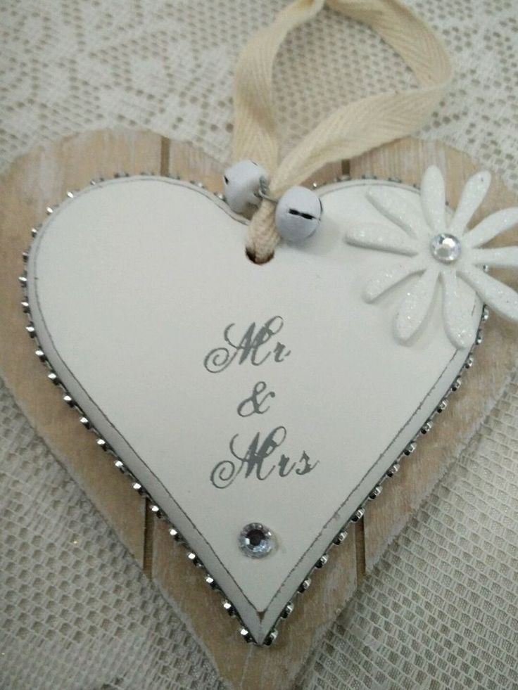 Wooden Hanging Heart/Mr and Mrs Wedding Plaque/keepsake/White /Diamantes/Gift