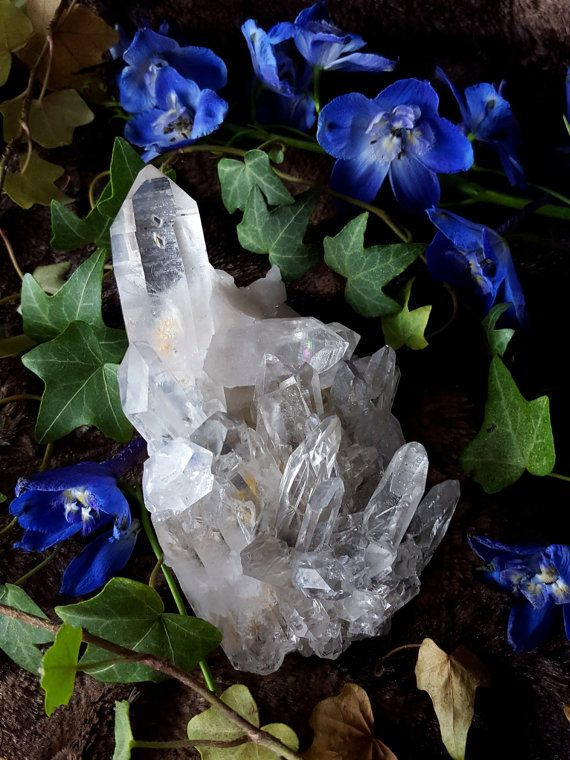 Quartz Crystal Cluster Arkansas Quartz Cluster by bionicunicorn