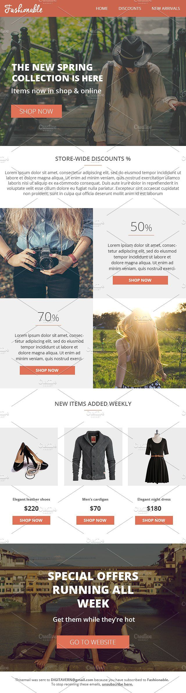 Fashionable Responsive Email Builder by VectorBurn on @creativemarket
