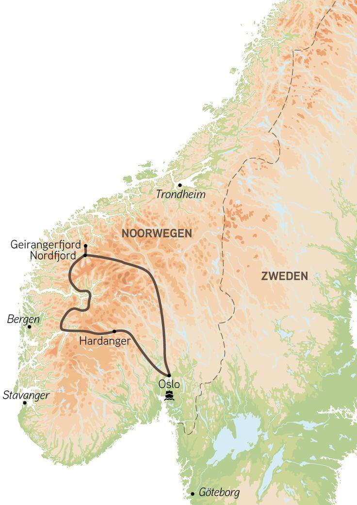Voorbeeld van een gezinsvakantie (rondreis blokhutten) naar Noorwegen met 2…