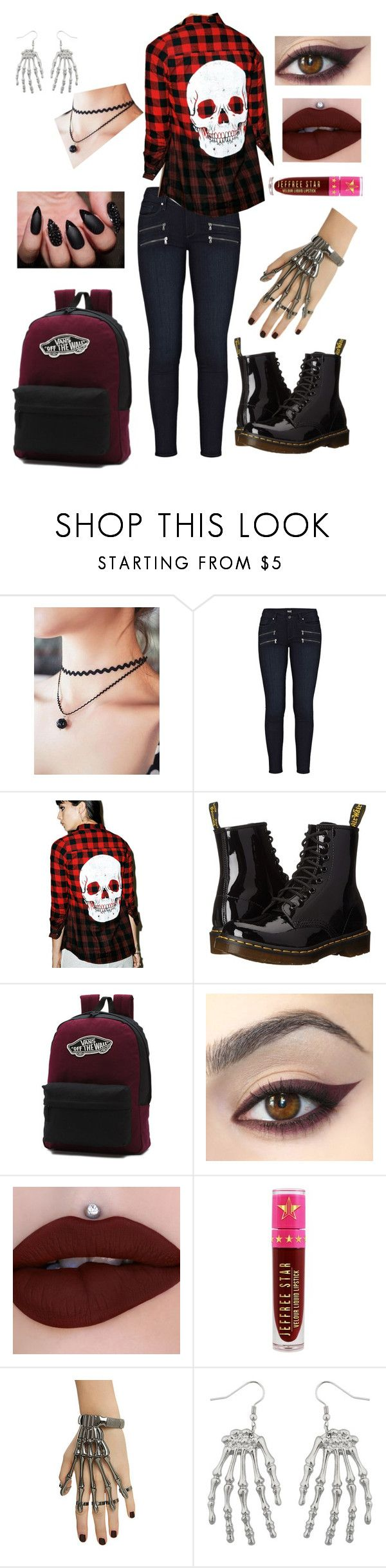 """""""Back to school again (With some Jeffree Star though! :))"""" by emo-roxanne ❤ liked on Polyvore featuring Paige Denim, Iron Fist, Dr. Martens, Vans, Jeffree Star and Hot Topic"""