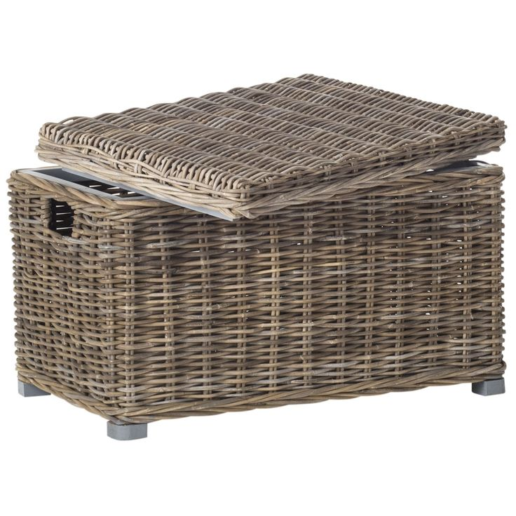 Inspired by a vintage European design, this transitional storage trunk features a casual mix of grey kubu rattan and mahogany and handles for portability.