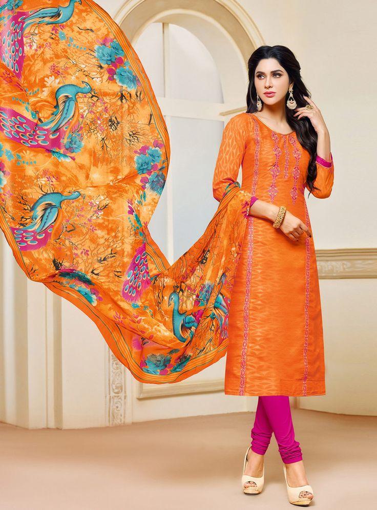 Orange Jacquard Kameez With Churidar 114070