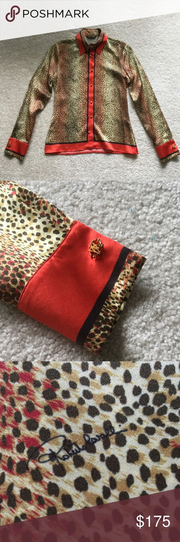 Roberto Cavalli silk leopard and red blouse sz38 Perfect condition, never worn red trimmed leopard print silk blouse, long sleeves with gold RC customized cufflinks which could be worn with other shirts, beautiful fitted and timeless print and design Roberto Cavalli Tops Blouses