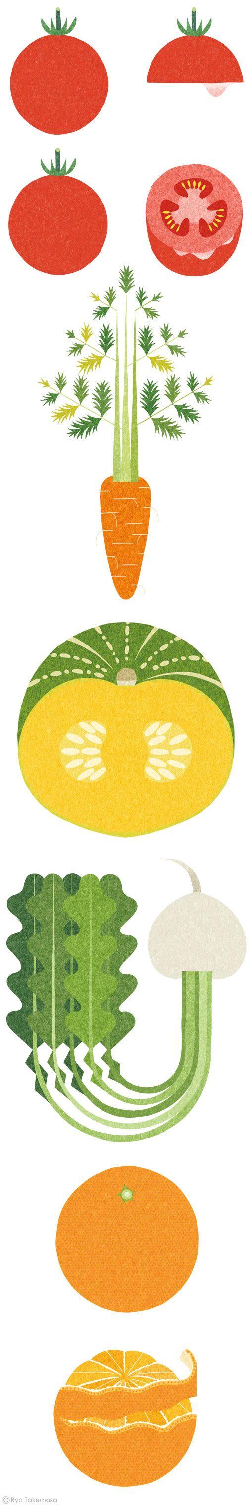 Ryo Takemasa fruit & vegetable illustration