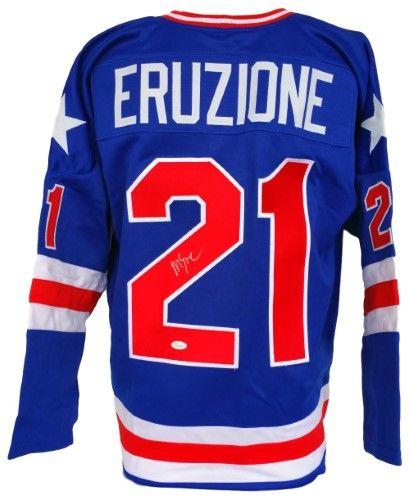 Mike Eruzione Signed 1980 Usa Hockey Miracle On Ice Blue Custom Jersey Jsa Itp Autograph Jersey Usa Hockey Custom Jerseys