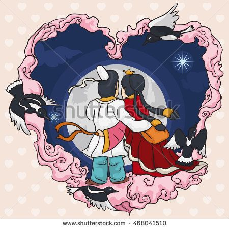 Romantic couple staring at the moon with magpies and clouds around like a heart…