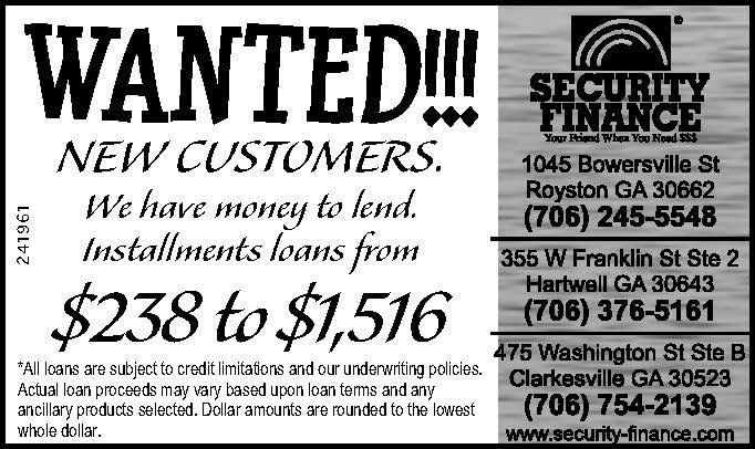 WANTED!!!  NEW CUSTOMERS.    We have money to lend.  Installments loans from  $238 to $1,5... | Security Finance - Clarksville, GA #georgia #ElbertonGA #shoplocal #localGA