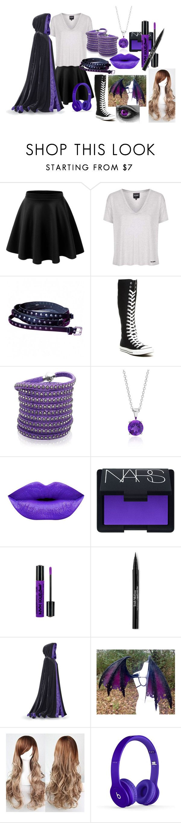 """""""Am i a monster? (enderlight)"""" by eyeless-angel-of-death ❤ liked on Polyvore featuring LE3NO, Topshop, Converse, Sif Jakobs Jewellery, Blue Nile, NARS Cosmetics, NYX, Trish McEvoy and Haze"""
