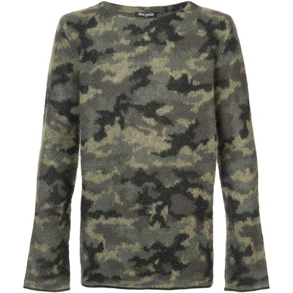Balmain camouflage jumper (3.810 BRL) ❤ liked on Polyvore featuring men's fashion, men's clothing, men's sweaters and mens camo sweater