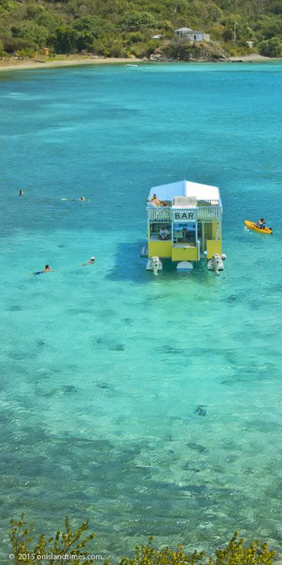 Floating Bar, Angels Rest, at Hansen Bay on St John's East End in the US Virgin Islands.