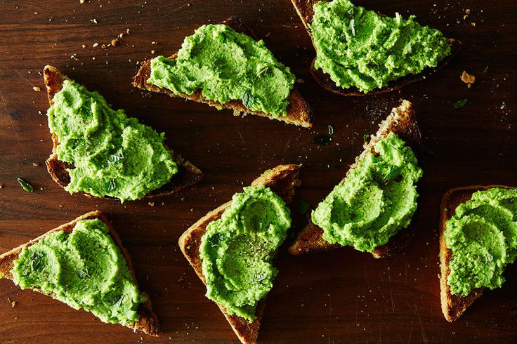 Minty Pea Purée on Toast. Nix the mint for some feta or cream cheese and I'm totally in.