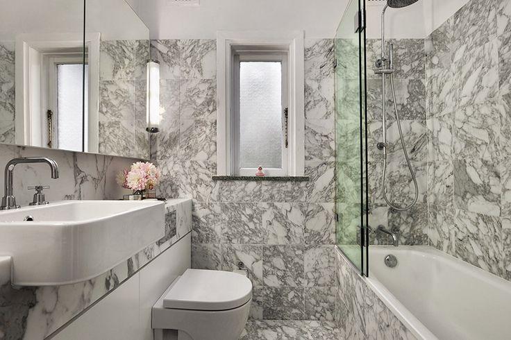 Marble bathroom. Design by Sarah Blacker Architect. Photo Anneke Hill.