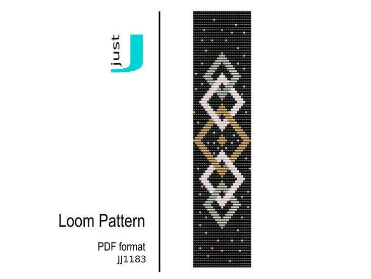 Loom bracelet pattern, Bead loom pattern, bracelet DIY, beading instant, geometric pattern, bookmark geometric, beading tutorial - JJ1183
