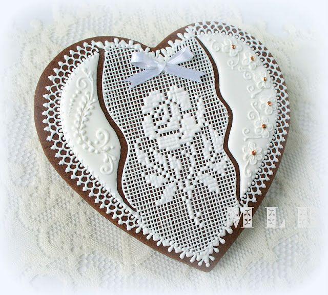 Моя маленькая пекарня :): сердце кружевное печенье