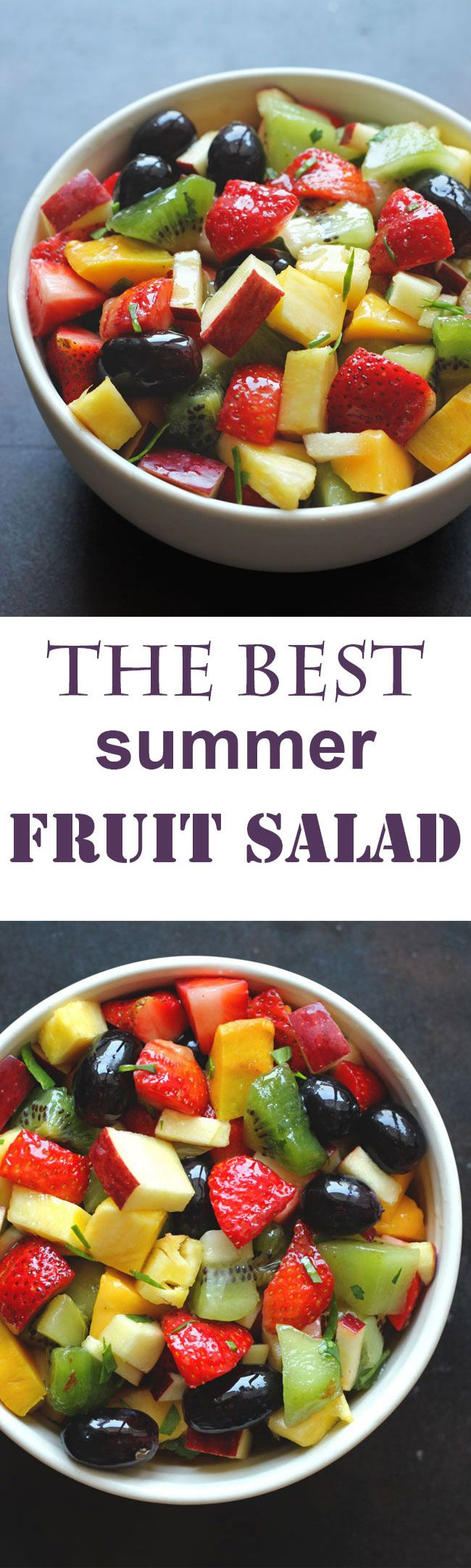 Fruit Salad is the best gluten-free, vegan and paleo friendly healthy salad recipe bursting with summer flavors. funfoodfrolic.com #fruitsalad #veganfood #paleo #salad