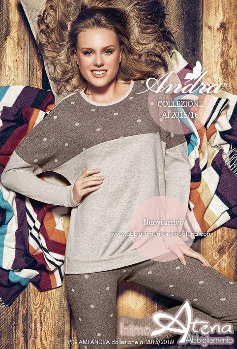 Per Andra Dreamwear, collezione autunno/inverno 2015/2016 un altro splendido pigiama donna dal gusto casual ma altamente ricercato. Morbidissimo Punto Milano, Jaquard unito disegno pois, nella delicata tonalità del Castagna abbinata al Lino. #moda #pigiama #dreamwear   http://www.abbigliamentointimoatena.com/pigiami-donna/4156-pigiama-donna-andra-dremwear-7220.html