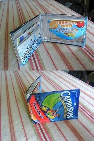 I remember when these were the bomb in middle school! Capri sun wallets and purses!