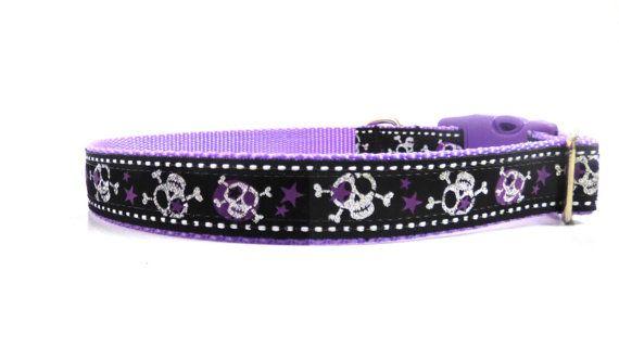 Punk Dog Collar/ Skulls and Stars Dog Collar/ ribbon dog