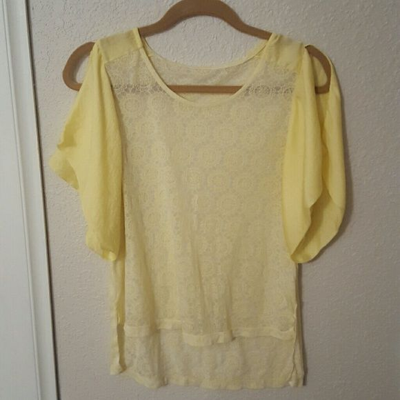 "Yellow Korean Top This top was bought while in Korea it is semi sheer and has a burnout  motif all over it,  the sleeves have a slit at shoulders and feel ""silky-ish"", the top itself I'm assuming is a very soft cotton or cotton blend, there is no size tag, but would fit a small unless you wanted to wear it more cropped, has never been worn, perfect condition Tops Tees - Short Sleeve"