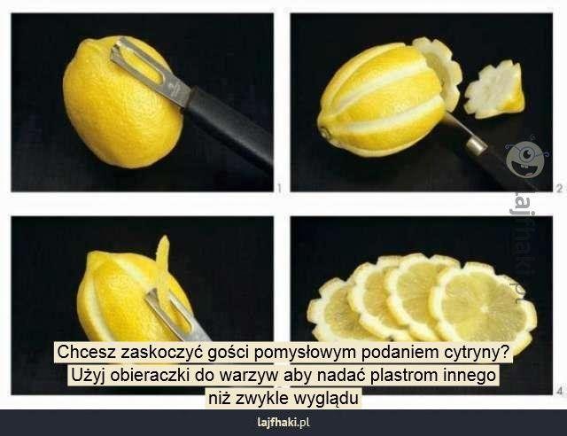 Sposób na cytrynę - Chcesz zaskoczyć gości pomysłowym podaniem cytryny? Użyj obieraczki do warzyw aby nadać plastrom innego niż zwykle wyglądu