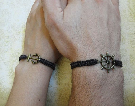 Couples Bracelet Anchor and Ship Wheel Bracelet Love Bracelet Set of 2  Bracelet His and Hers Bracelet Husband Wife Bracelet Couples Gift