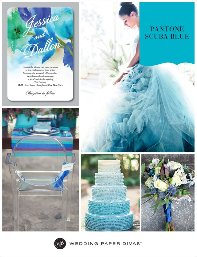 Blue colored weddings may range from shades of navy to sapphire, or turquoise to aqua, and we want to dive right into this trend. Scuba Blue is the refreshing color inspiring this idea board.