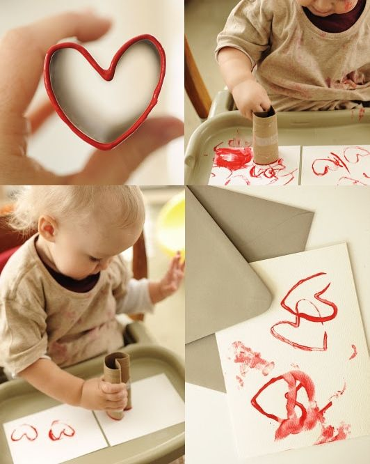 Valentine's Day arts and crafts idea: Toilet paper tube heart stamps. Capture that creative side of your little loved ones this Valentine's Day! #artsandcrafts #valentinesday #kidsgifts