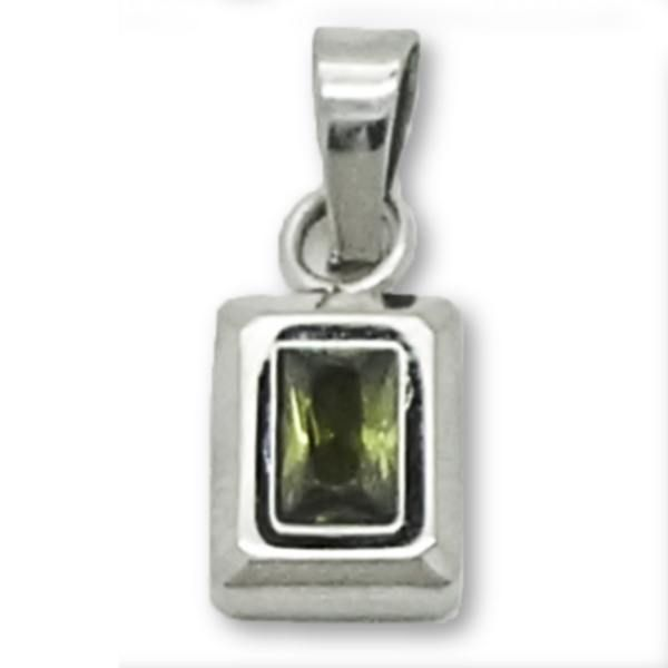Joyas de Acero-Colgantes-PA0276V. Diseño rectángular de 22 mm de alto,circón de color verde