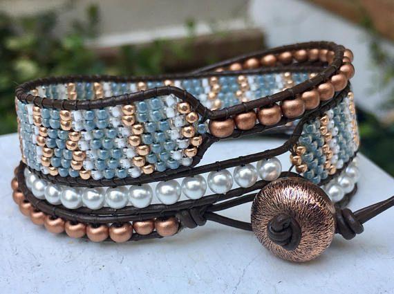 Blue Copper White Bead Leather Cuff Bracelet Chan Luu Style