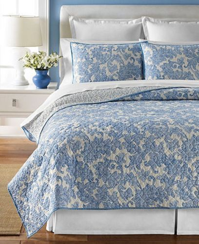 Martha Stewart Windfall Full Queen Quilt Blue Amp White Bed