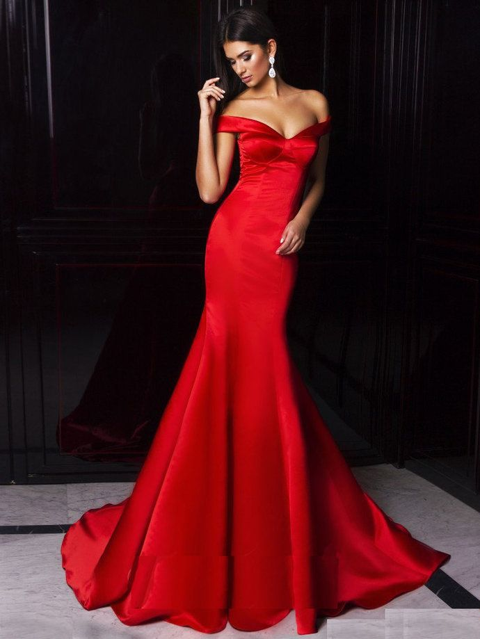 d09344003fc Mermaid Prom Dresses Off Shoulder Sweetheart Red Satin Ombre Hot ...