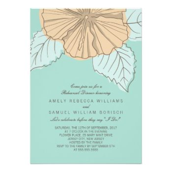 Stylish Modern Hibiscus Wedding Rehearsal Dinner Invitation in mint color. Designed as a template for easy customization. #modern #contemporary #mint #orange #trendy #stylish #hibiscus #floral #flower #rehearsal #dinner #invitation #invite #invites #invitations #custom #template #templates #customizable #original #beige #trend #drawing #illustration #summer #spring #blue #green #engagement #party #spring #wedding #summer #wedding #bridal #shower #simple #elegant #classy #fancy #mint #color…