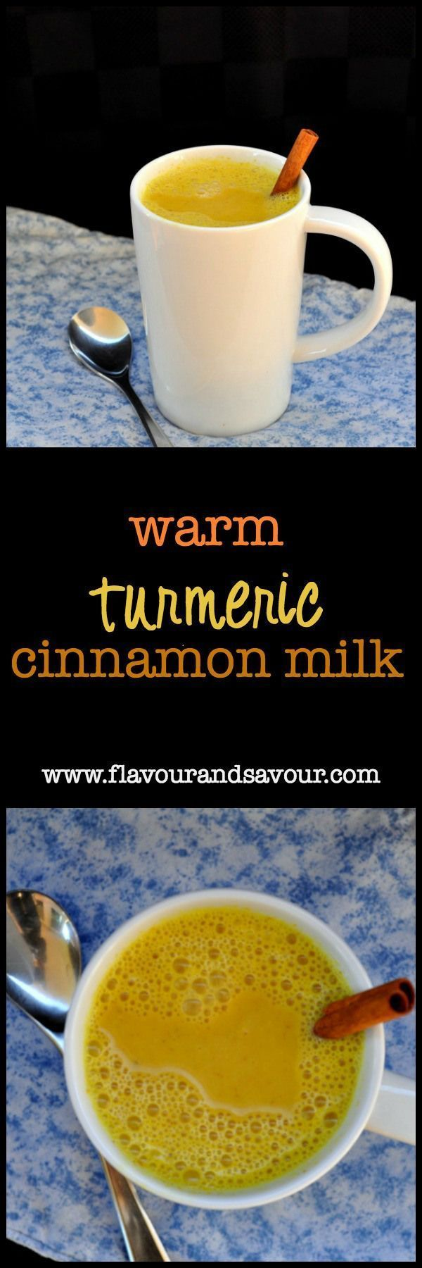Warm Turmeric Cinnamon Milk. A healthy anti-inflammatory, anti-oxidant Golden Milk flavoured with ginger and honey. Can't sleep? Try this before bed. Works for me! |www.flavourandsavour.com