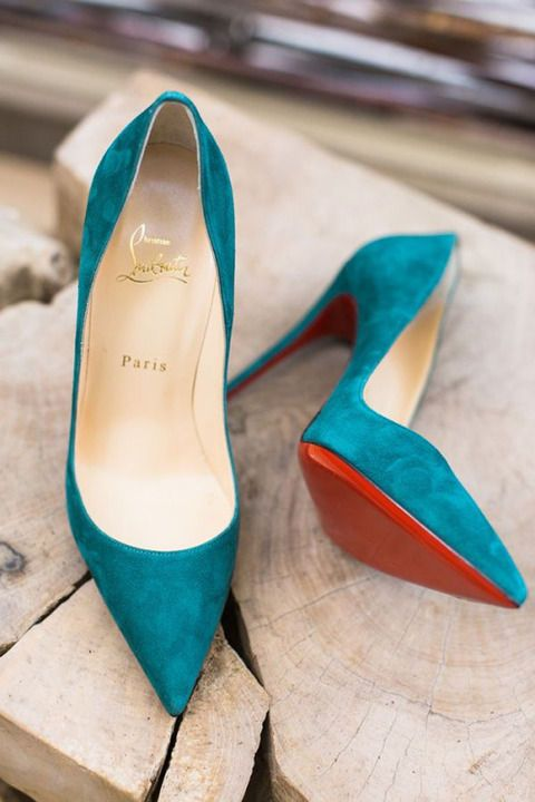 Turquoise suede Louboutin pointy pumps for more findings pls visit www.pinterest.com/escherpescarves/