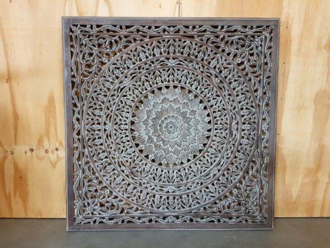 Houtsnijwerk paneel Barcelona burnt grey 120 x 120 cm