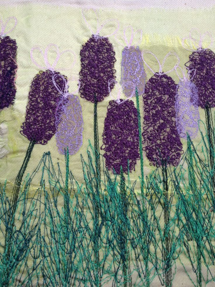 My own work - Free hand machinery lavender stems inspired by Richard Box