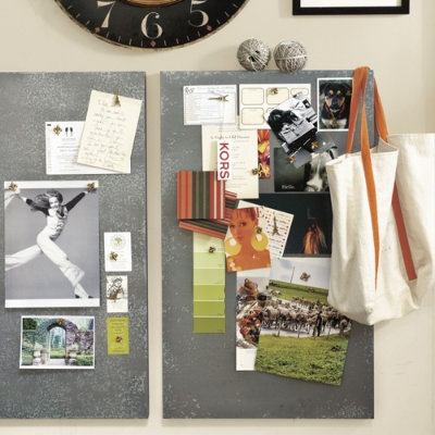 Zinc Magnetic Board:  Displayed here, even a simple to-do list looks like a work of art. Hardwood frame is covered in acid-washed zinc for a perfect blending of modern and vintage industrial style. Hang either way to display art, photos, calendar, invitations and more.: Office, Wall Decor, Organization, Zinc Magnetic, Bulletin Board, Ballard Designs, Magnetic Boards, Photo