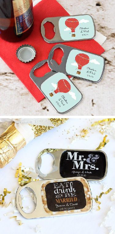 Send your guests home with personalized bottle openers! Customize with your favorite design and color choices and then personalize with your names, event date, or special message for a truly one-of-a-kind favor they'll appreciate and use for years to come.
