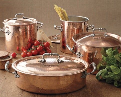 Ruffoni Convivium Hammered Copper Pots Made In Italy