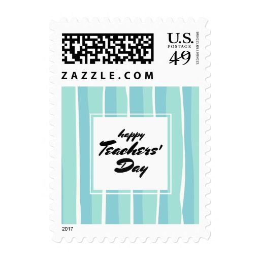 Happy Teachers' Day. Stripe Pattern Typography design Teacher Appreciation Day personalized Postage Stamps. Matching cards, postage stamps and other products available in the Business / Occupation Specific / Education, Childcare Category of the Mairin Studio store at zazzle.com