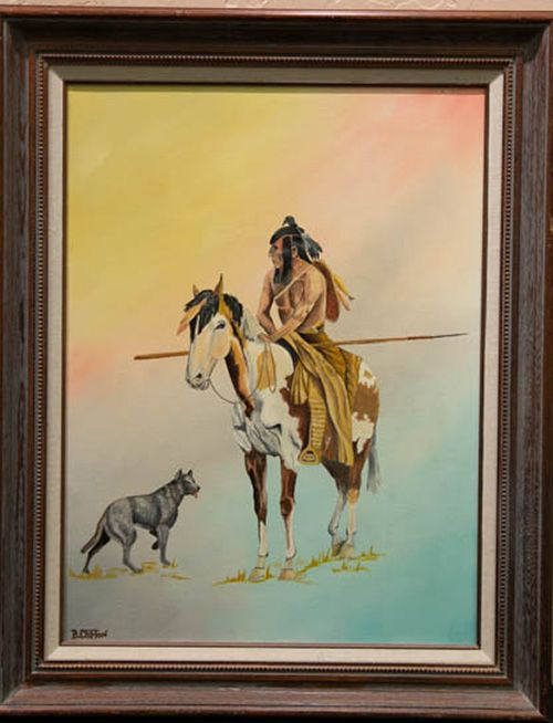 One of three B. Clifton paintings held by the Garis Gallery of the American West collection. If you know who this artist is, please contact us! Many pieces purchased by Jim Garis before his death, it is unknown who the artist is or how Mr. Garis came to collect their work. He collected what he liked!