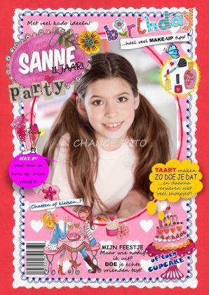 Verjaardag FEEST Tijdschrift Meisje Foto - Uitnodigingen - Kaartje2go